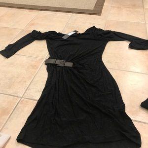 Dark gray belted dress